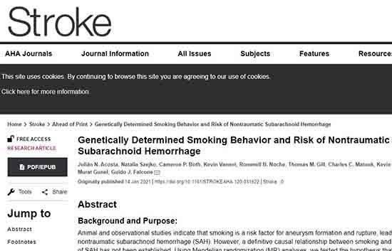 Το κάπνισμα αυξάνει τον κίνδυνο αιμορραγικού εγκεφαλικού, σύμφωνα με αμερικανική έρευνα