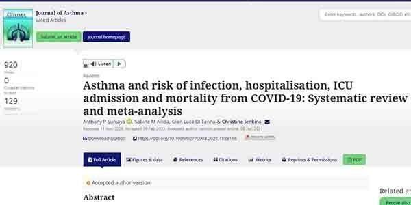 Η Covid-19 δεν είναι πιο επικίνδυνη και θανατηφόρα για όσους έχουν άσθμα