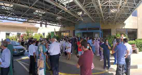 Εκδήλωση διαμαρτυρίας γιατρών, νοσηλευτών και προσωπικού στο Γ. Νοσοκομείο Αμμοχώστου