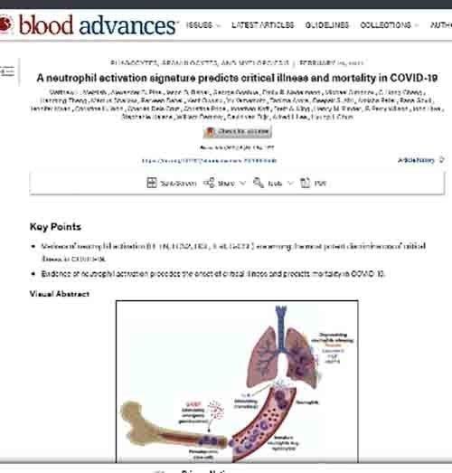 Νέοι βιοδείκτες αίματος επιτρέπουν την πρόβλεψη των ασθενών με υψηλότερο κίνδυνο βαριάς Covid-19