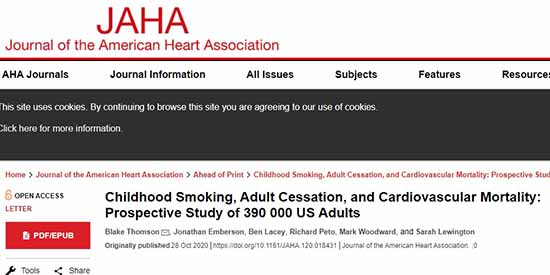 Οι καπνιστές, ιδίως όσοι άρχισαν νωρίς, έχουν τριπλάσιο κίνδυνο πρόωρου καρδιαγγειακού θανάτου
