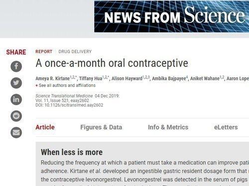 Ένα βήμα πιο κοντά στο πρώτο μηνιαίο αντισυλληπτικό χάπι, που δοκιμάστηκε σε πειραματόζωα