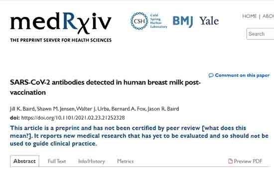 Αντισώματα από τα αντι-Covid-19 εμβόλια περνάνε από την εμβολιασμένη μητέρα στο μητρικό γάλα